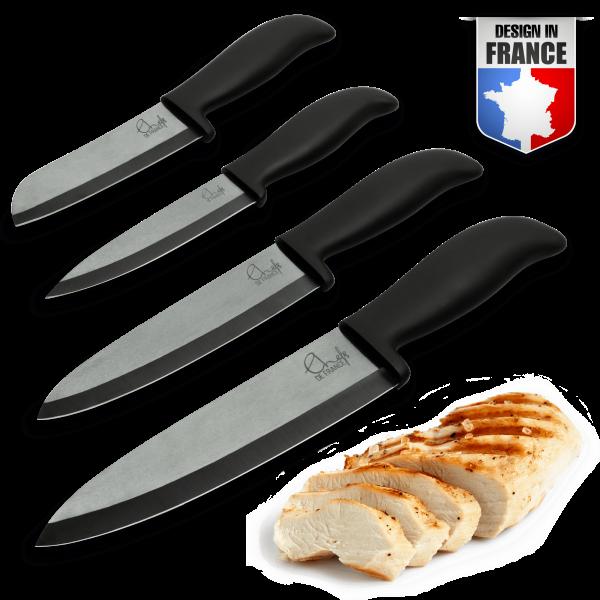Set de Couteaux en céramique noir - Coffret Prestige